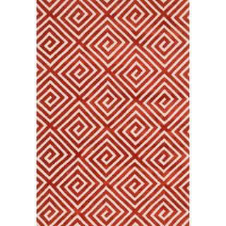Aaron Rust Fretwork Microfiber Woven Rug (2'3 x 3'9)