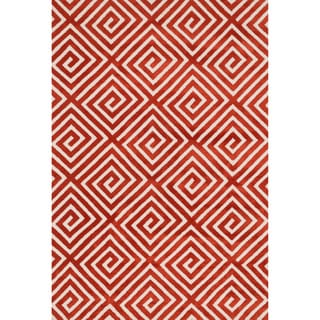 Aaron Rust Fretwork Microfiber Woven Rug (7'6 x 9'6)
