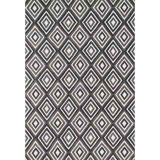 Aaron Grey/ Charcoal Diamond Microfiber Woven Rug (3'6 x 5'6)