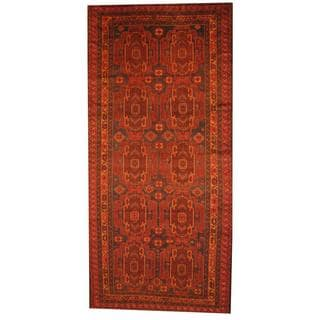 Herat Oriental Afghan Hand-knotted Semi-antique Tribal Balouchi Blue/ Brown Wool Rug (6' x 12'8)