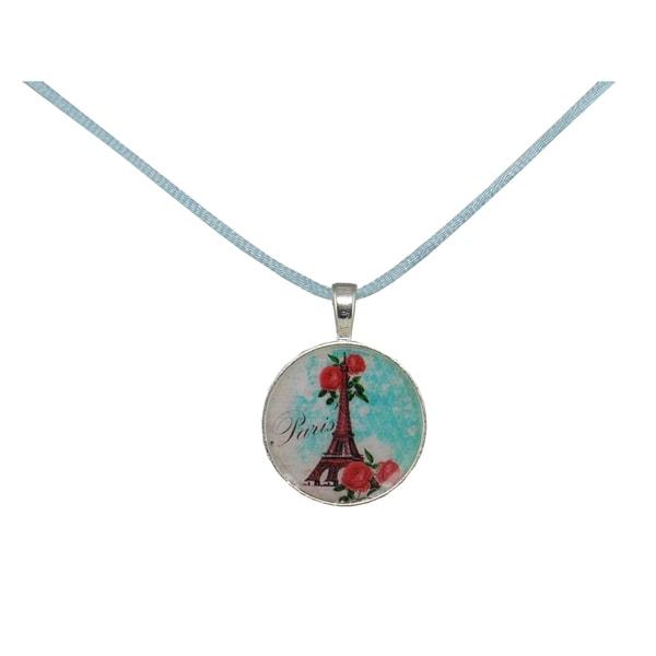 Be The Envy Blue Satin Paris Necklace