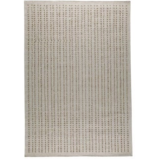 Hand-woven Palm White New Zealand Wool Rug (3'x 5'4)