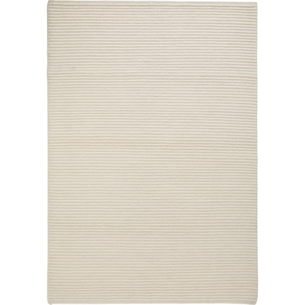 Hand-knotted Manc White New Zealand Wool Rug (3'x 5'4)