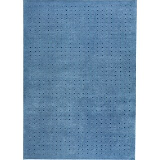 Hand-knotted Snow Blue New Zealand Wool Rug (3'x 5'4)