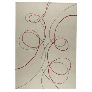 Hand-tufted Tanj White New Zealand Wool Rug (3'x 5'4)
