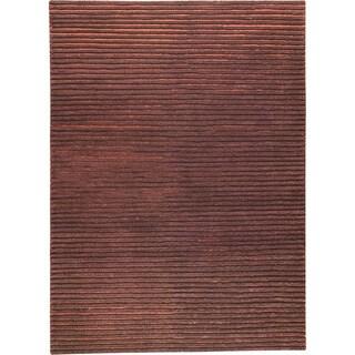 Hand-woven Goa Brown New Zealand Wool Rug (3'x 5'4)
