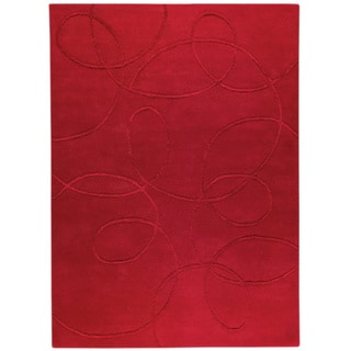 Hand-tufted Madr Red New Zealand Wool Rug (4'6x 6'6)