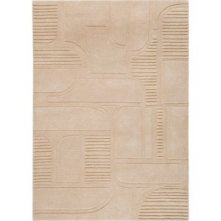 Hand-tufted Orla Sand New Zealand Wool Rug (4'6x 6'6)