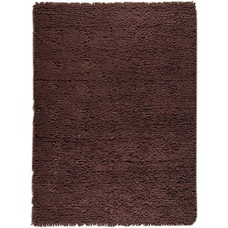 Hand-woven Berb Brown New Zealand Wool Rug (4'6x 6'6)