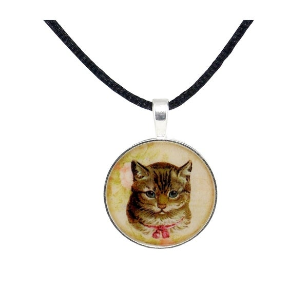 Light Brown Vintage Cat Satin Necklace