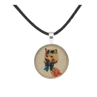 Light Brown Satin Vintage Cat Necklace