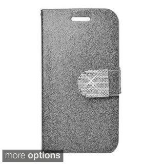 INSTEN Plain Glittering Leather Book-Style Flap Pouch With Magnetic Flip Tray For ZTE Warp Sync N9515