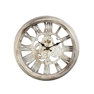 Gear Detail Distressed Iron Wall Clock