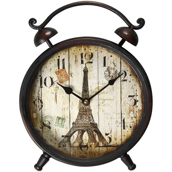 Eiffel Tower Vintage-Inspired Brown Iron Wall or Table Clock