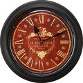 Black Iron Deep Red Face Vintage-Inspired Wall Clock