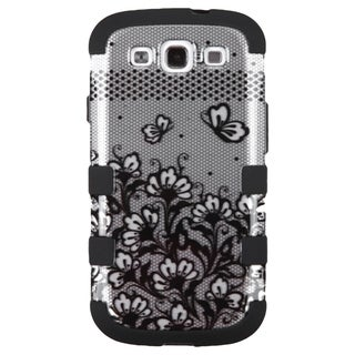 INSTEN Lace Flowers Tuff Rubberized Hard PC/ Silicone Phone Case Cover For Samsung Galaxy S3 GT-i9300