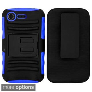 INSTEN Advanced Armor Dual Layer Hybrid Stand PC/ Silicone Phone Case Cover With Holster For LG Optimus Zone 2 VS415PP