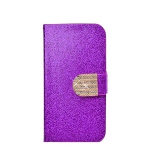 INSTEN Stand Leather Folio Book-Style Flip Phone Case Cover With Diamond For LG Volt LS740