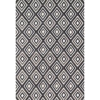 Aaron Grey/ Charcoal Diamond Microfiber Woven Rug (5'0 x 7'6)