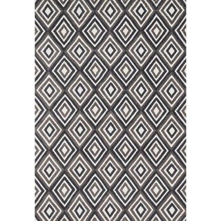 Aaron Grey/ Charcoal Diamond Microfiber Woven Rug (9'3 x 13'0)
