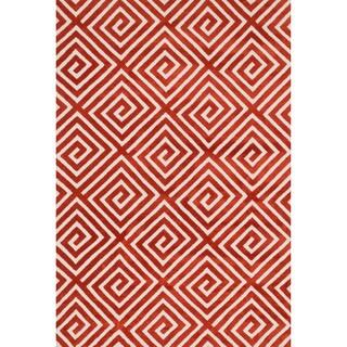 Aaron Rust Fretwork Microfiber Woven Rug (5'0 x 7'6)