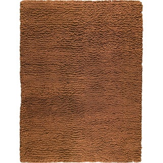 Hand-woven Berb Bronze New Zealand Wool Rug (4'6x 6'6)