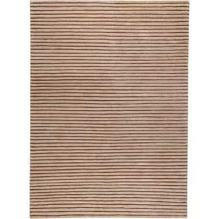 Hand-woven Goa Beige New Zealand Wool Rug (4'6x 6'6)