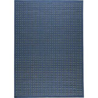 Hand-woven Palm Blue New Zealand Wool Rug (4'6x 6'6)