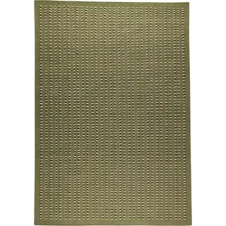 Hand-woven Palm Green New Zealand Wool Rug (4'6x 6'6)
