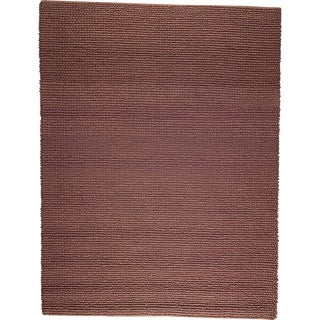Hand-woven Ladh Brown New Zealand Wool Rug (4'6x 6'6)