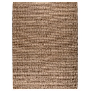 Hand-woven Ladh Dark Beige New Zealand Wool Rug (4'6x 6'6)