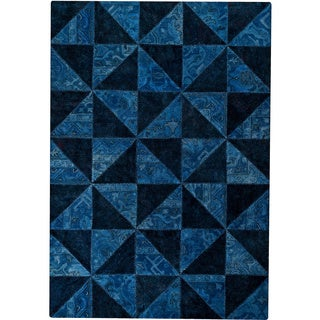 Hand-tufted Tile Blue/ Turquoise New Zealand Wool Rug (5'2 x 7'6)