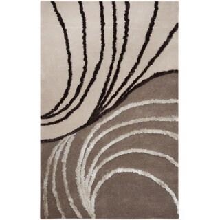 Hand-tufted Wave Beige/ Brown Wool Rug (5'2 x 7'6)