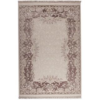 Abun White/ Brown New Zealand Wool Rug (5'2 x 7'6)