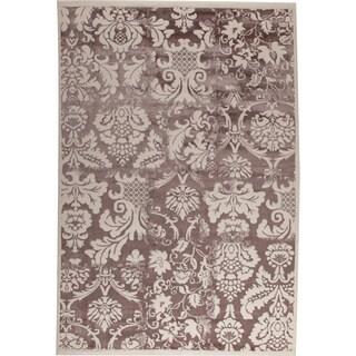 Baro White/ Brown New Zealand Wool Rug (5'2 x 7'6)