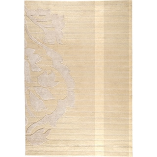 Hand-knotted Cort White New Zealand Wool Rug (5'6 x 7'10)