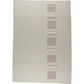 Hand-knotted Salz White/ Multi New Zealand Wool Rug (5'6 x 7'10)