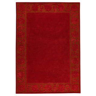 Hand-tufted Vien Red New Zealand Wool Rug (5'6 x 7'10)
