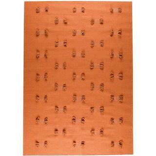 Hand-woven Napo Orange New Zealand Wool Rug (5'6 x 7'10)