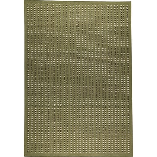 Hand-woven Palm Green New Zealand Wool Rug (5'6 x 7'10)