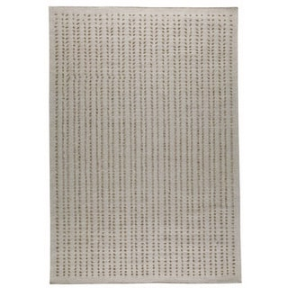Hand-woven Palm White New Zealand Wool Rug (5'6 x 7'10)