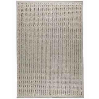 Hand-woven Palm White New Zealand Wool Rug (6'6 x 9'9)