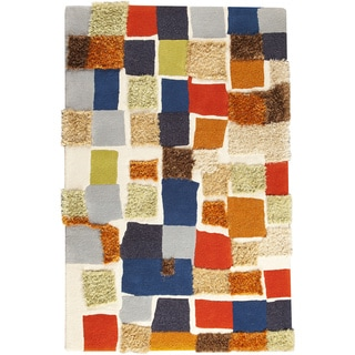 Hand-tufted Patc Multi European Wool Blend Rug (7'10 x 9'10)