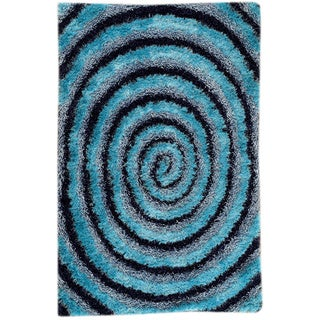 Hand-tufted Land Blue Area Rug (7'10 x 9'10)