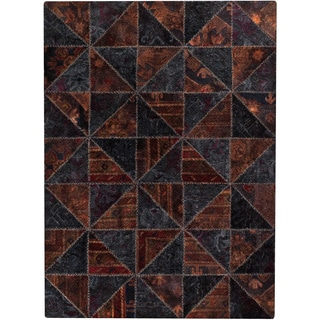 Hand-tufted Tile Black/ Brown New Zealand Wool Rug (7'10 x 9'10)