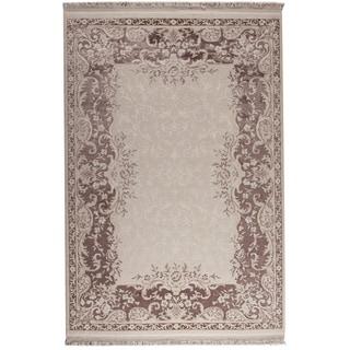 Abun White/ Brown New Zealand Wool Rug (7'10 x 9'10)