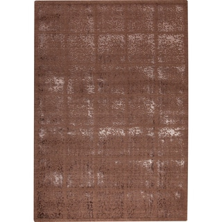 Subtle Squares Brown New Zealand Wool Rug (7'10x9'10)