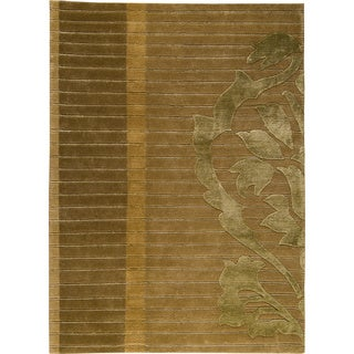 Hand-knotted Contemporary Green New Zealand Wool Rug (8'3x11'6)
