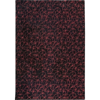 Hand-tufted Made Black/ Red New Zealand Wool Rug (8'3 x 11'6)