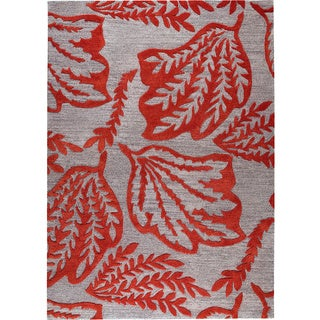 Hand-tufted Leaf Red New Zealand Wool Rug (8' x 10')